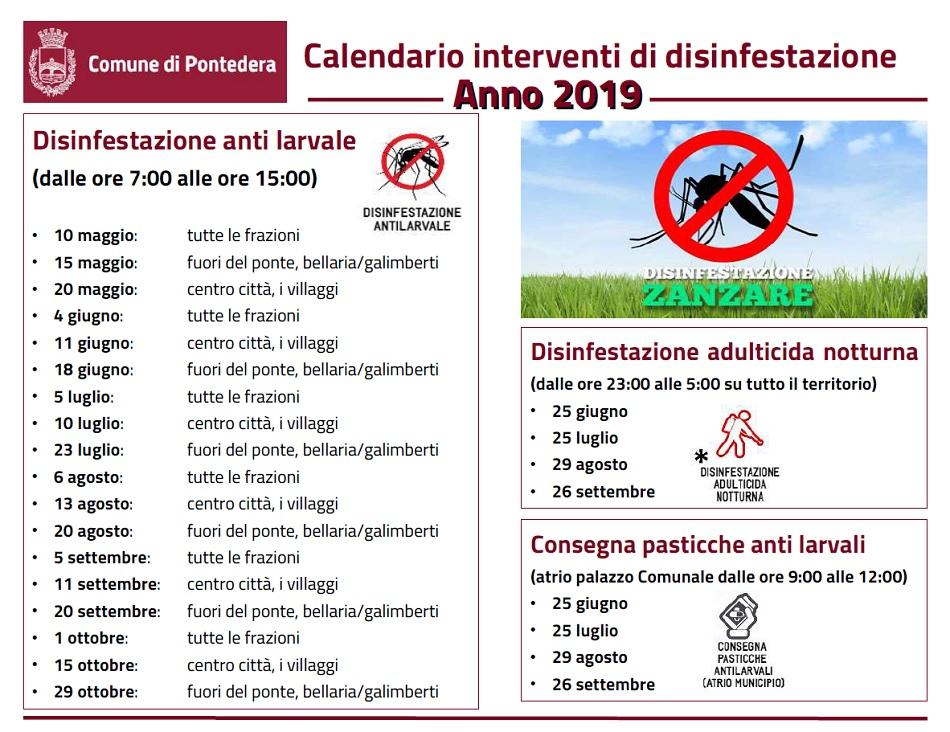 Calendario Maggio Giugno Luglio 2019.Calendario Interventi Di Disinfestazione Anno 2019 Comune