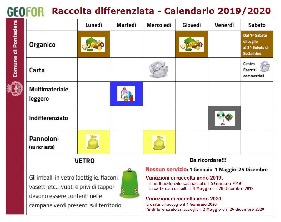 Calendario Trasporti 2020.Memo Calendario Raccolta Differenziata Nell Estate